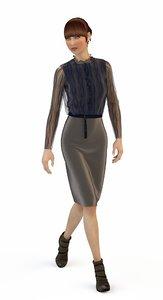 3D suit blouse skirt