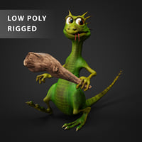 baton lizard rigging character 3D model