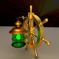 ship steering wheel lamp 3D model