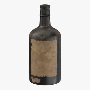 3D old bottle alcohol 04