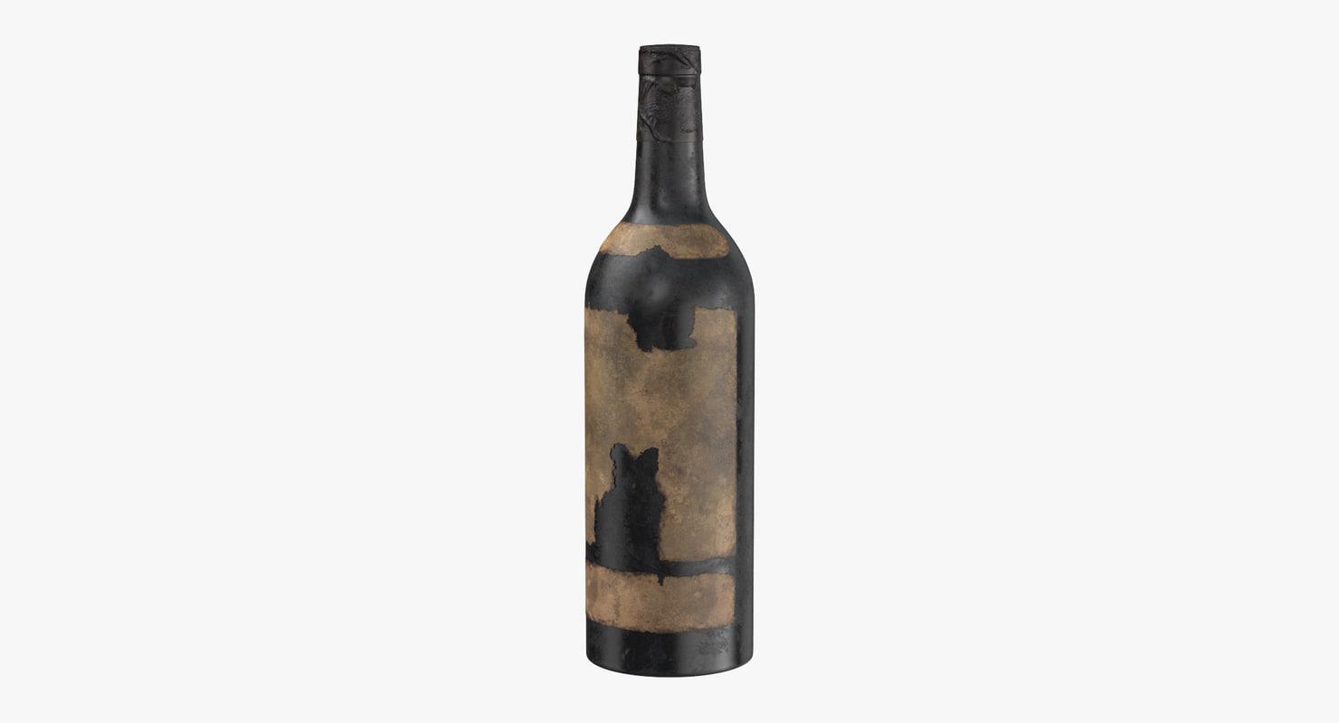 3D old bottle alcohol 05
