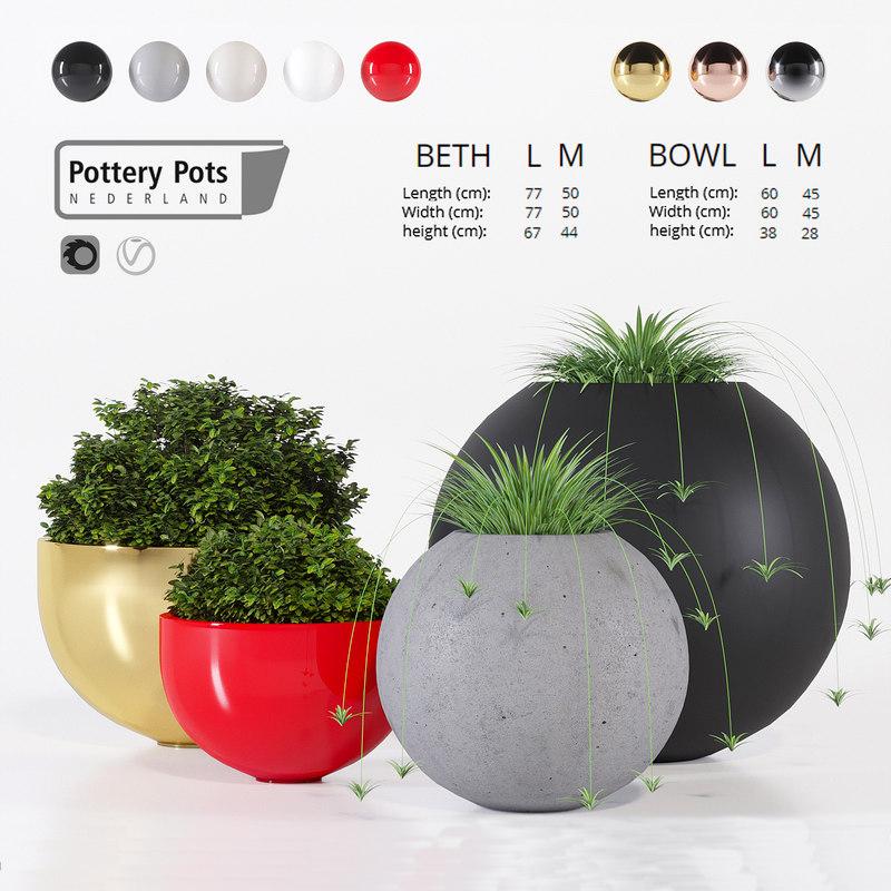 3D outdoor pots pottery