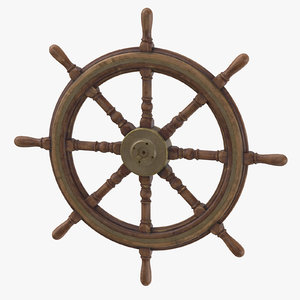 old ship wheel 3D