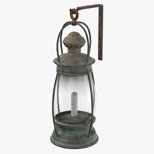 3D model ship candle lantern mounted