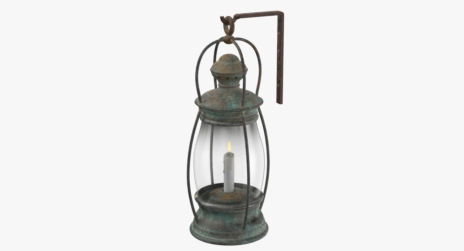 ship candle lantern mounted 3D model