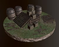 3D contain objects barrel model
