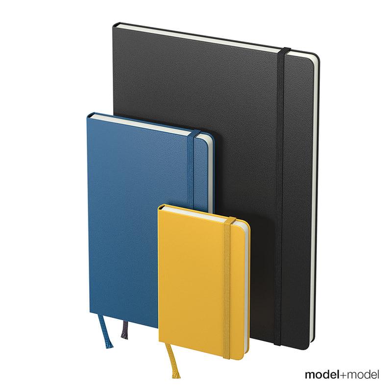 3D moleskine notebooks model