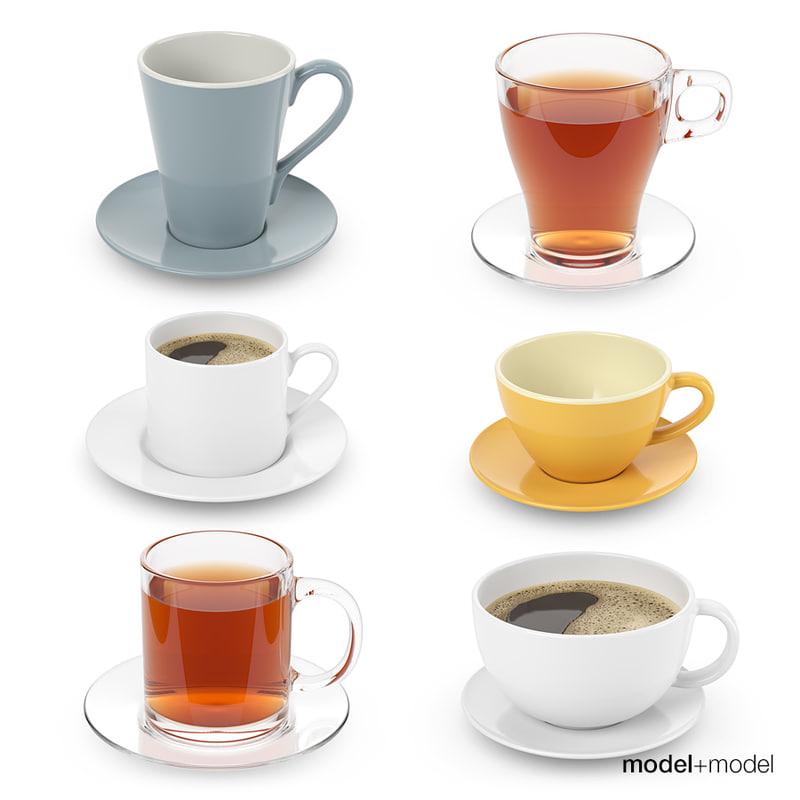 cups coffee tea 3D model