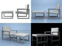 saler armchair pouf 3D model