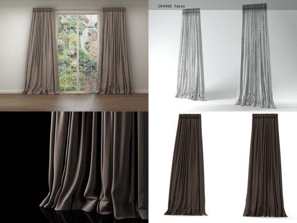3D window-curtain n model