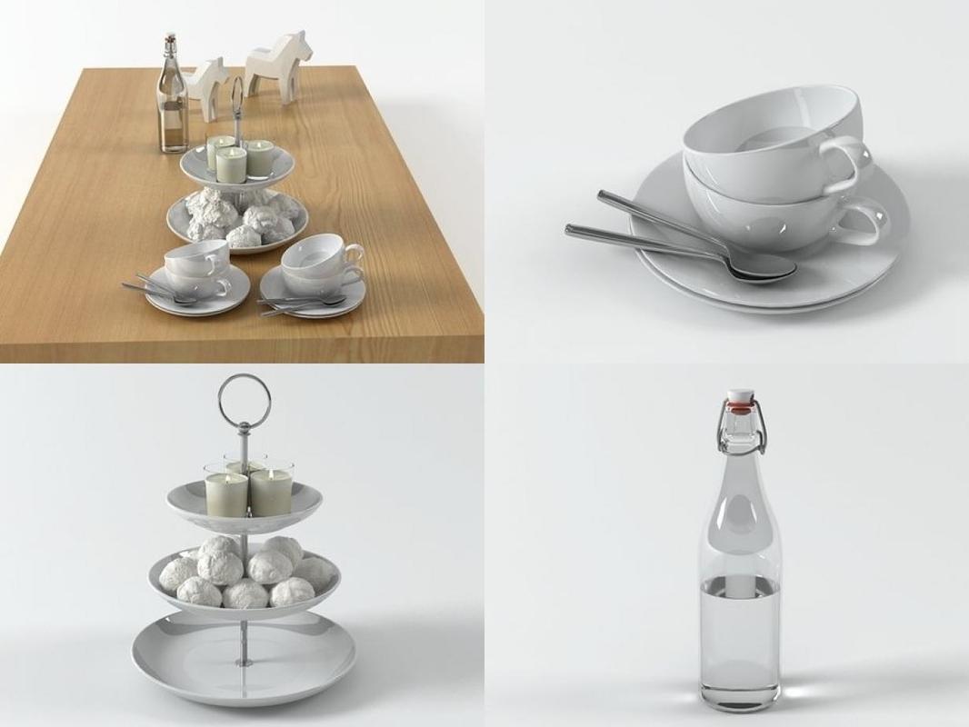 3D model table set 01