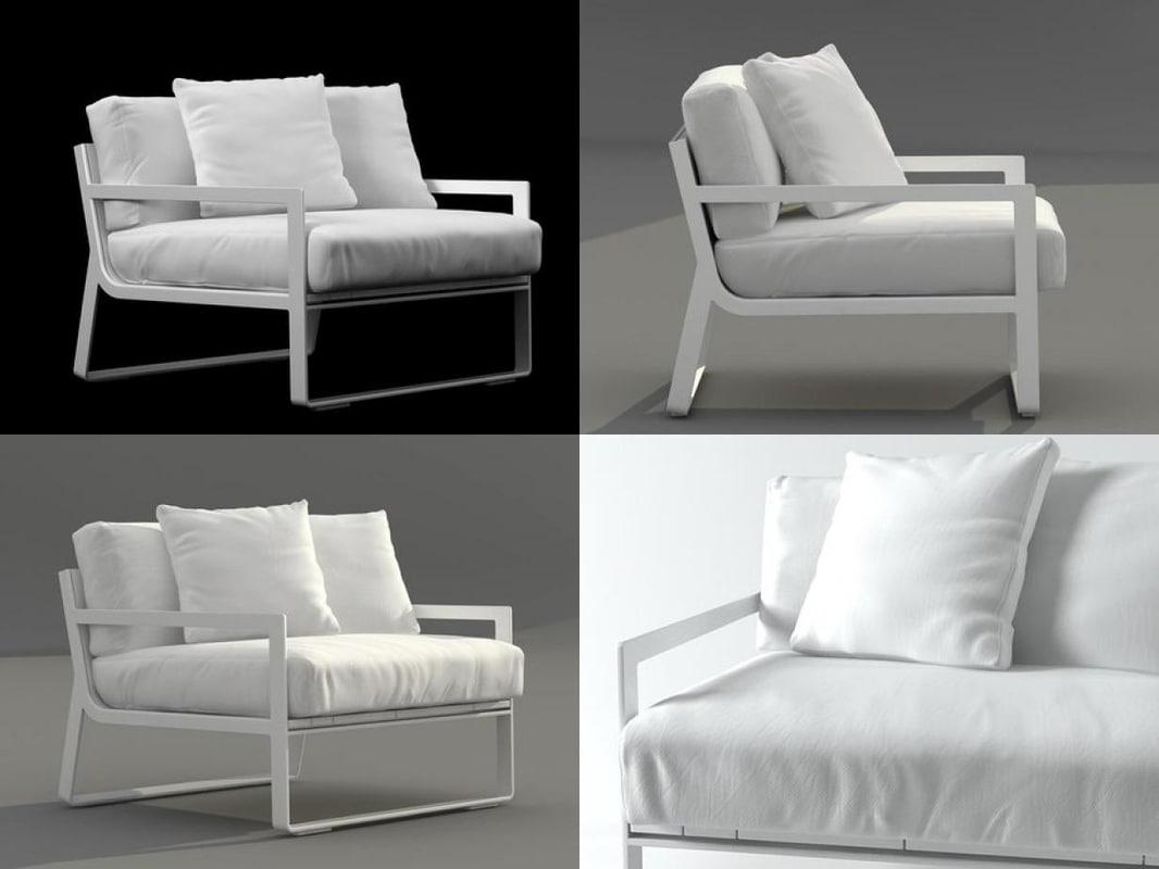 3D flat armchair