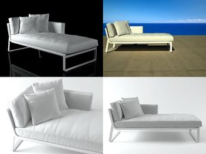 flat sofa modular 2 3D model