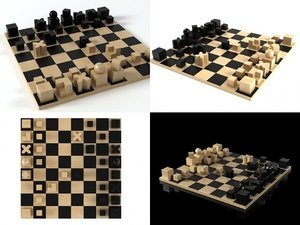 3D bauhaus chess pieces