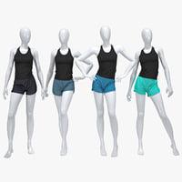 female running suit 3D model
