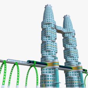 futuristic skyscraper metro station 3D model