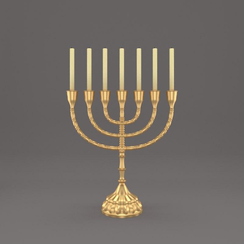 gold menorah 3D model