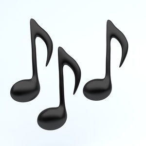 icon music notes 3D model