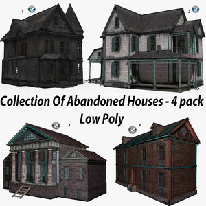 pack 4 abandoned house 3D model