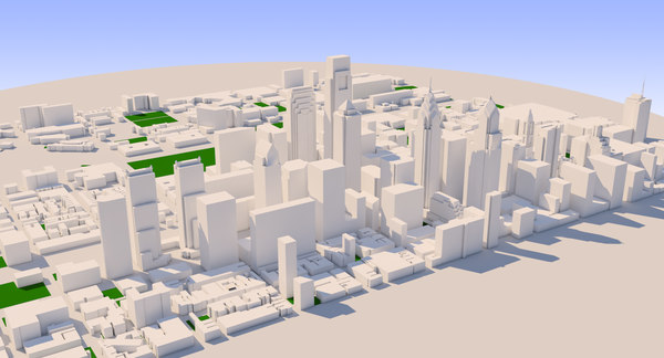 3D philadelphia cityscape town city