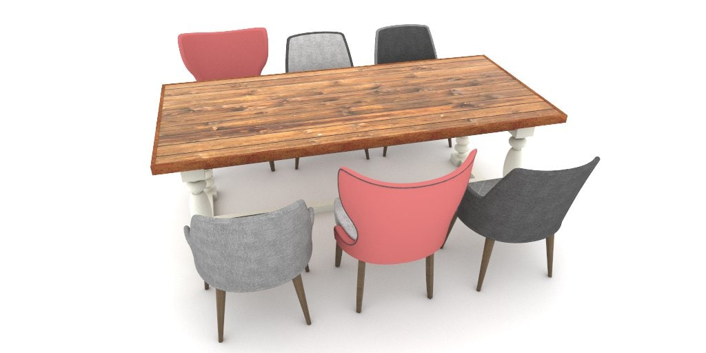 table set 6 chairs 3D model