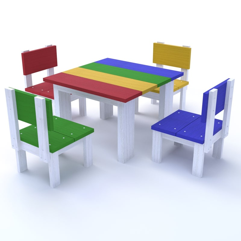 table chairs children 3D model