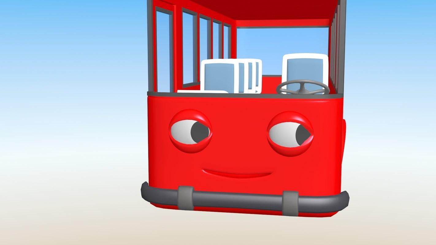 3D model cartoon bus