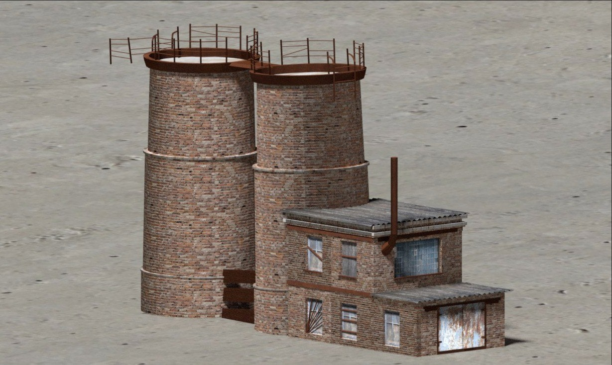 3D model ruined buildings industrial