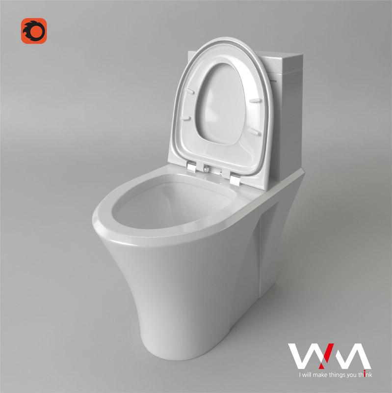 3D model european toilet