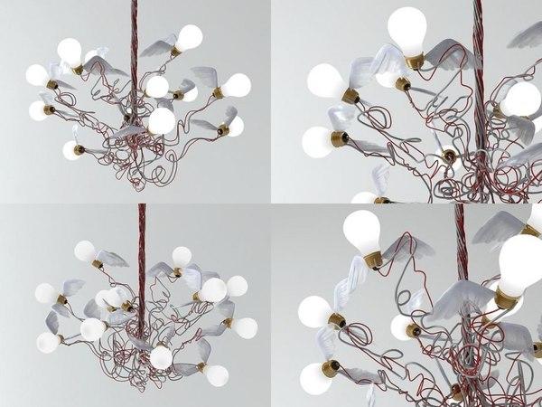 3D birdie pendant lamp model