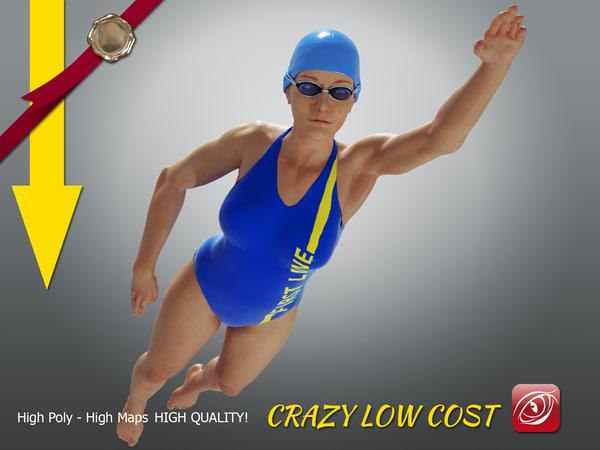 3D model girl crawl swimming