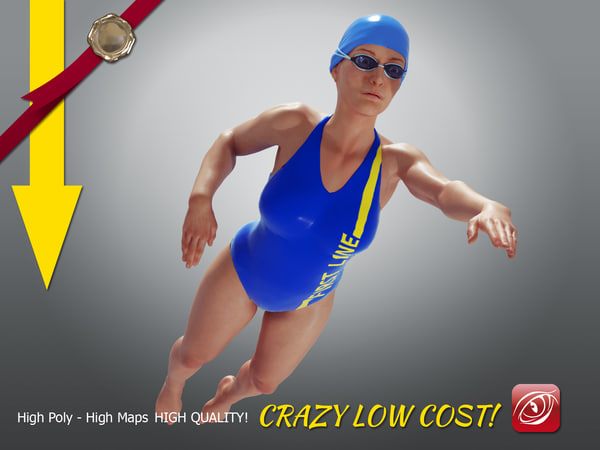 girl crawl swimming 3D model