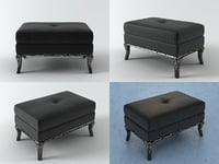 3D bllack raven ottoman model