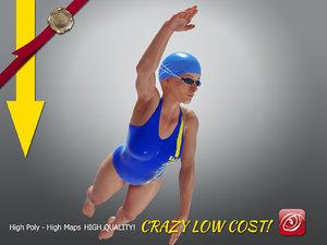3D model swimmingpoolgirlccrawl p3 girl crawl