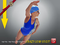 3D swimmingpoolgirlccrawl p4 girl crawl model