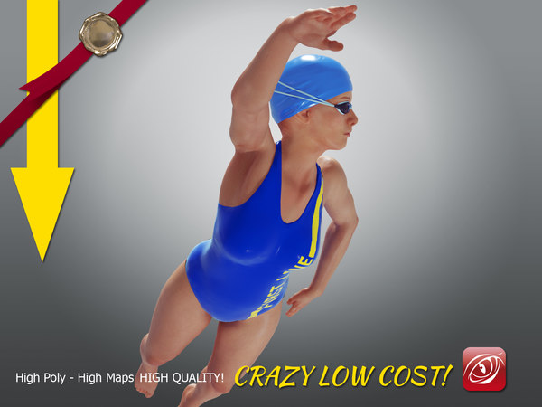 3D swimmingpoolgirlccrawl p4 girl crawl model