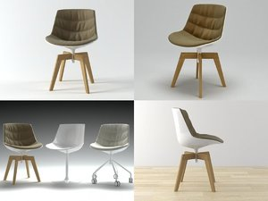 flow chair oak base 3D model