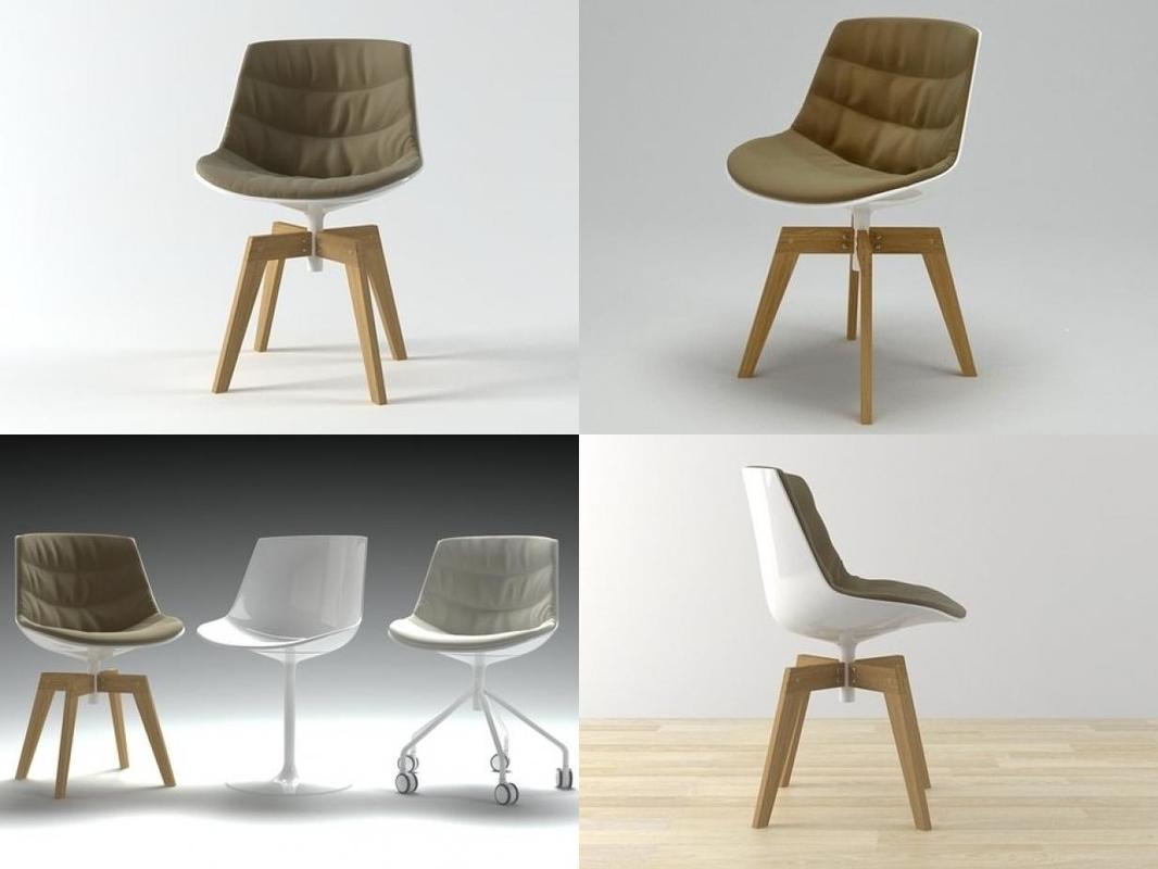 flow chair oak base 3D model
