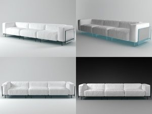 crystal threeseater sofa 3D