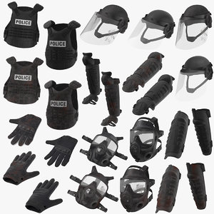 3D police riot gear bloody