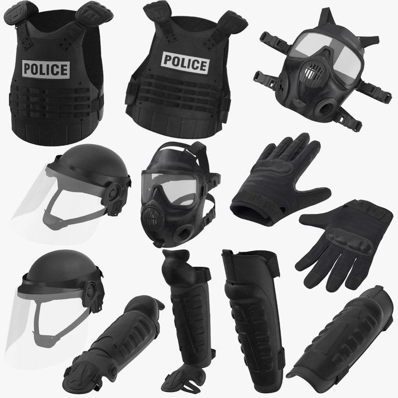 police riot gear 3D