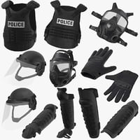 police riot gear 3D