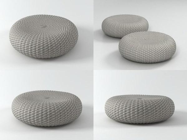 3D model shell pouf