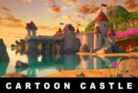 cartoon castle scene 3D