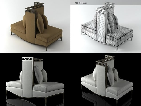 3D loveseat model