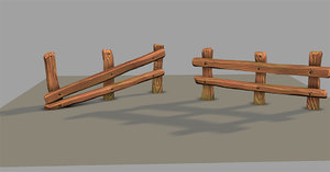 3D old wooden fence
