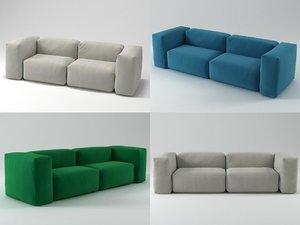 3D model 2 seater superoblong sofa