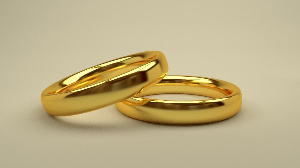 3D gold wedding rings