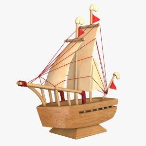 3D wooden ship