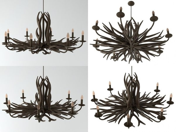3D model deer horn chandelier n